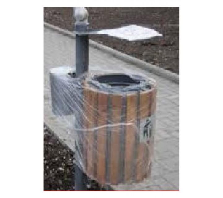 Cos pentru gunoi nr.37  (ornamentat cu lemn, cu scrumiera, pentru betonare)